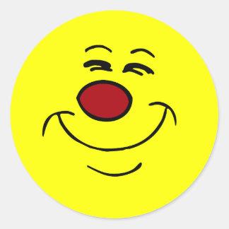 Cara sonriente presumida Grumpey Pegatina Redonda