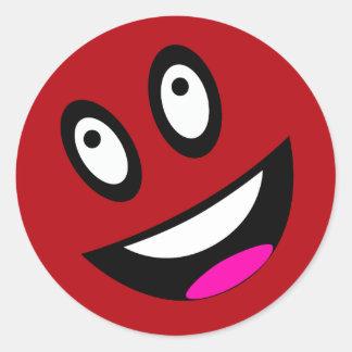 Cara sonriente roja pegatinas