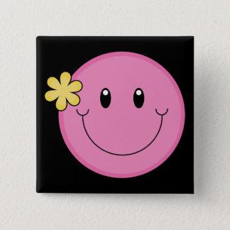 Cara sonriente rosada chapa cuadrada
