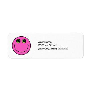 Cara sonriente rosada etiquetas de remite