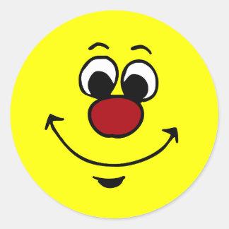 Cara sonriente sarcástica Grumpey Pegatina Redonda