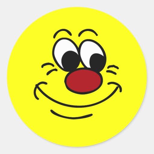 Cara sonriente Scornful Grumpey Etiqueta Redonda