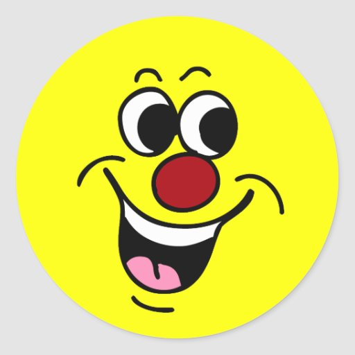 Cara sonriente sonriente Grumpey Etiquetas Redondas