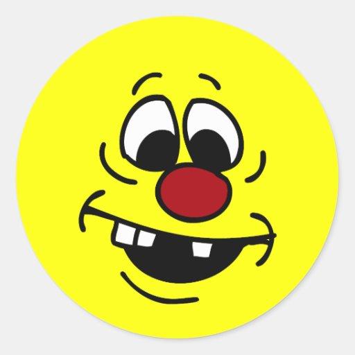 Cara sonriente torpe Grumpey Pegatinas Redondas