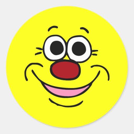 Cara sonriente tranquila Grumpey Etiquetas Redondas