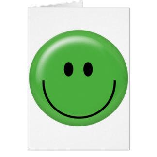 Cara sonriente verde feliz tarjeta de felicitación