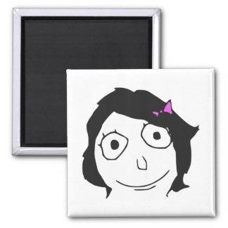 Cara triguena Meme de la rabia del pelo negro de D Imanes De Nevera