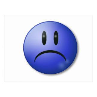Cara triste de la sonrisa postal