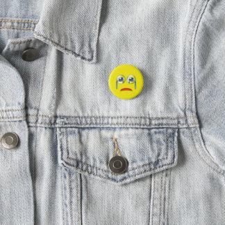 Cara triste Emoji Chapa Redonda De 2,5 Cm