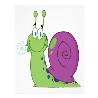 caracol colorido del dibujo animado feliz con la f folleto 21,6 x 28 cm