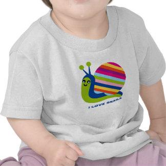 Caracoles coloridos lindos del amor de los Caracol Camisetas