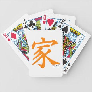 Carácter chino anaranjado para la familia baraja de cartas