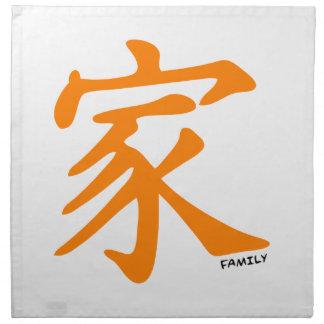 Carácter chino anaranjado para la familia servilletas imprimidas
