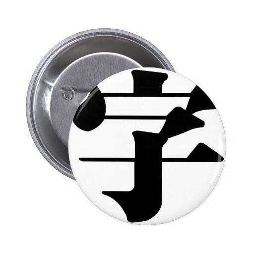 Carácter chino: zi4, significando: letra, characte pins
