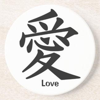Carácter de kanji para el amor posavasos de arenisca