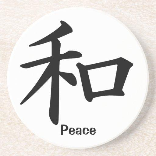 Carácter de kanji para la paz posavasos diseño