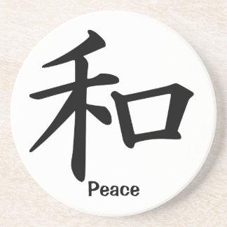 Carácter de kanji para la paz posavasos manualidades