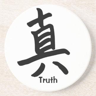 Carácter de kanji para la verdad posavaso para bebida