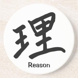 Carácter de kanji por razón/lógica posavasos diseño