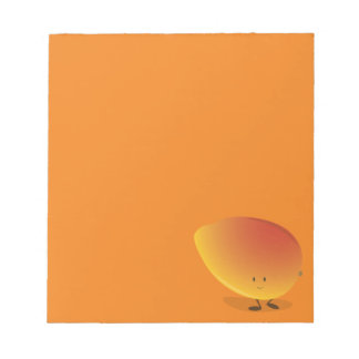 Carácter sonriente del mango bloc de notas
