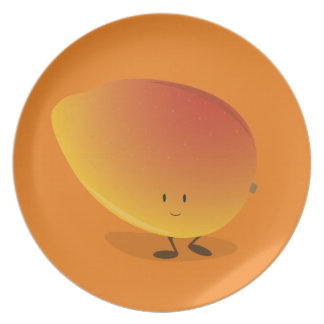 Carácter sonriente del mango plato