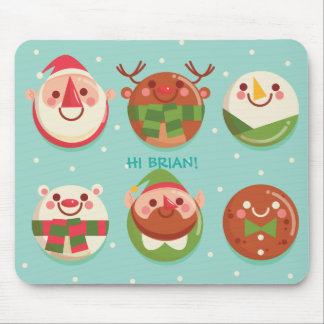 Caracteres lindos estupendos del navidad en las alfombrilla de ratón