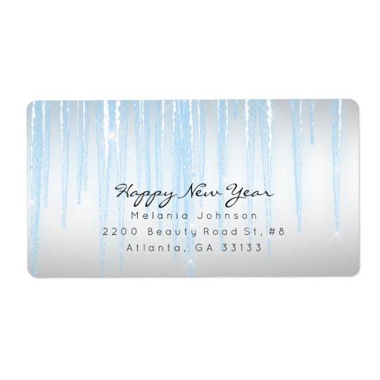 Carámbanos chispeantes azules de plata etiqueta de envío