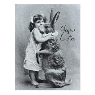 Caramelo gigante del chica del conejo de la postal