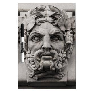 Caras de piedra de la terracota en el edificio pizarra blanca
