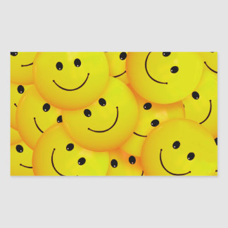 Caras sonrientes amarillas felices frescas de la pegatina rectangular