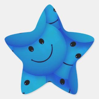 Caras sonrientes azules felices frescas de la calcomanías forma de estrellaes