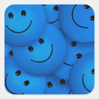 Caras sonrientes azules felices frescas de la pegatina cuadrada