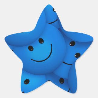 Caras sonrientes azules felices frescas de la pegatina en forma de estrella