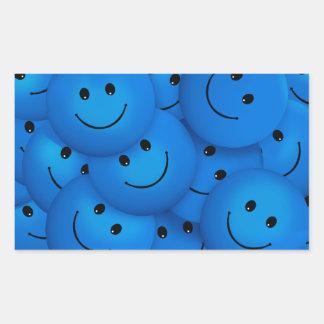 Caras sonrientes azules felices frescas de la pegatina rectangular