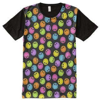 Caras sonrientes coloridas en negro camisetas con estampado integral