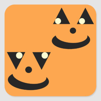 Caras sonrientes de la calabaza de Halloween Pegatina Cuadrada