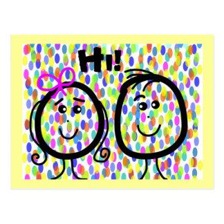 ¡Caras sonrientes de la postal hola! Puntos