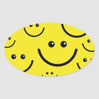 Caras sonrientes pegatina ovalada