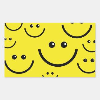 Caras sonrientes pegatina rectangular