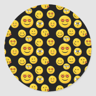 Caras sonrientes pegatina redonda