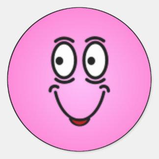 Caras sonrientes tontas de lujo pegatina redonda