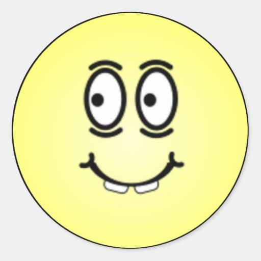 Caras sonrientes tontas de lujo etiqueta redonda