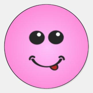 Caras sonrientes tontas de lujo pegatinas redondas