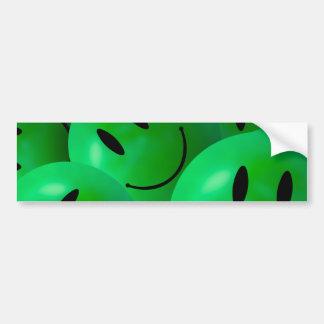Caras sonrientes verdes felices frescas de la pegatina para coche