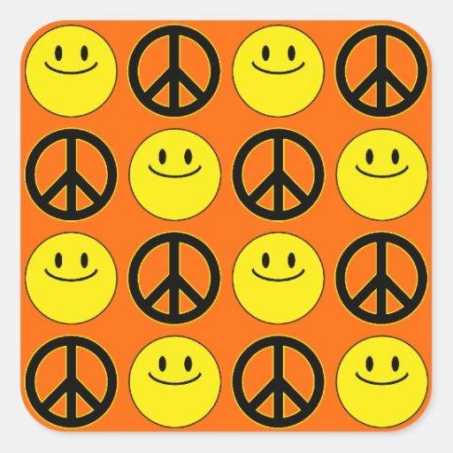 Caras y signos de la paz sonrientes colcomania cuadrada