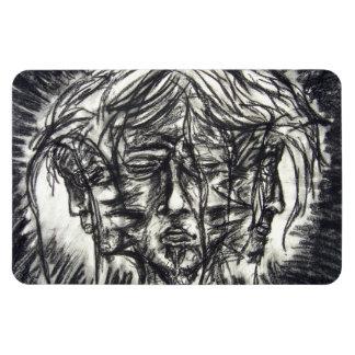 Carbón de leña blanco y negro del gótico de tres c iman de vinilo