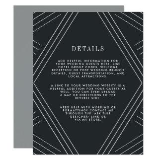 Carbón de leña de la tarjeta de detalles de la invitación 10,8 x 13,9 cm