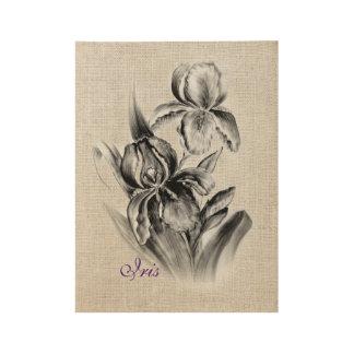 Carbón de leña del bosquejo de la flor del iris póster de madera