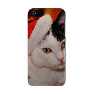 Carcasa De Iphone 5 Incipio Feather Shine Gato de Papá Noel - Felices Navidad - acaricie el