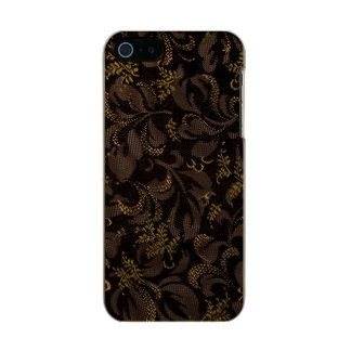 Carcasa De Iphone 5 Incipio Feather Shine Mirada del bordado de Brown